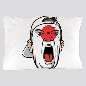 Football fan head Japan national flag Pillow Case