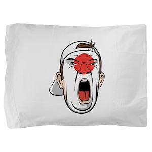 Football fan head Japan national flag Pillow Sham