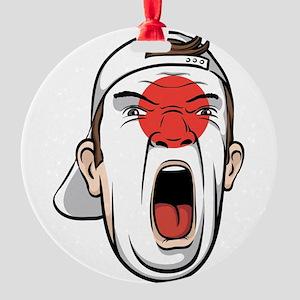Football fan head Japan national fl Round Ornament