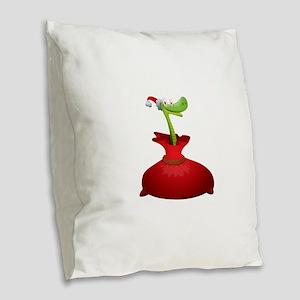 Christmas snake cartoon Burlap Throw Pillow