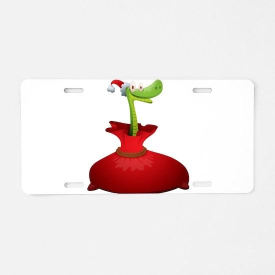 Christmas snake cartoon Aluminum License Plate