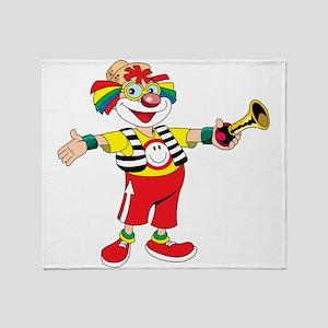 clown blowing a horn Throw Blanket