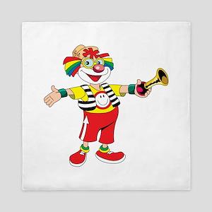 clown blowing a horn Queen Duvet