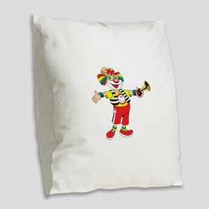 clown blowing a horn Burlap Throw Pillow