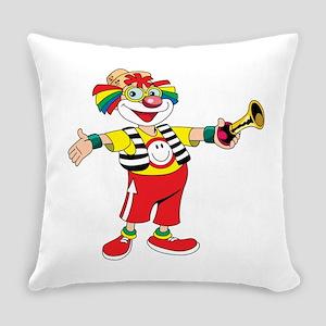 clown blowing a horn Everyday Pillow