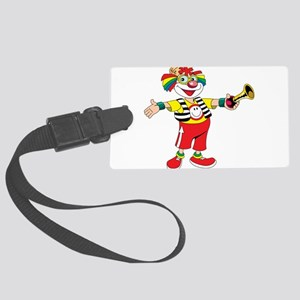 clown blowing a horn Large Luggage Tag