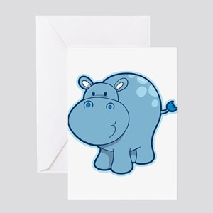 Cute cartoon animal hippo Greeting Cards