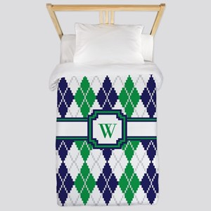 On the Green Argyle Twin Duvet