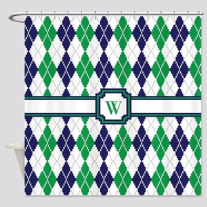 On the Green Argyle Shower Curtain
