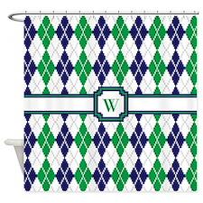 On the Green Argyle Shower Curtain