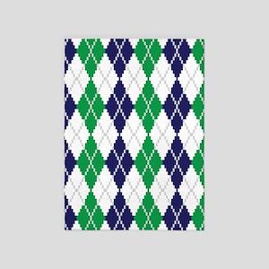 On the Green Argyle 5'x7'Area Rug