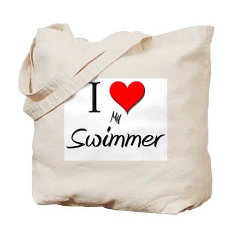 I Love My Swimmer Tote Bag