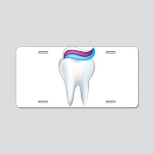Tooth with toothpaste art Aluminum License Plate