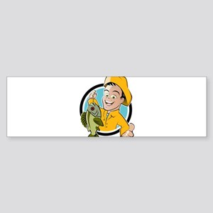 Cartoon fishing man design Bumper Sticker