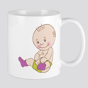 Baby wearing socks cartoon Mugs