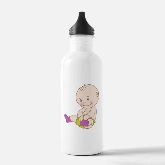 Baby wearing socks car Water Bottle