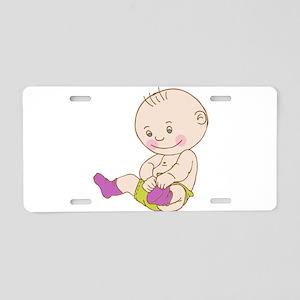 Baby wearing socks cartoon Aluminum License Plate