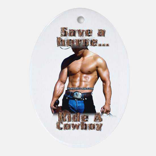Leather pride steamy Oval Ornament