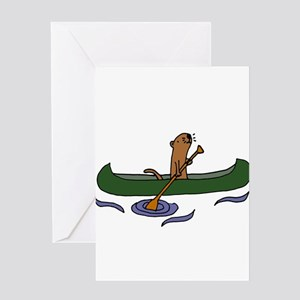Sea Otter Canoeing Greeting Cards