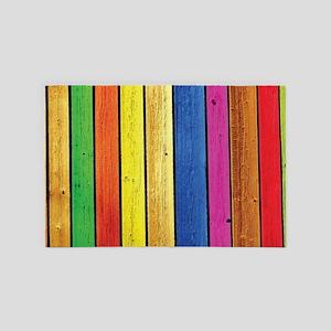 Colorful Wood Planks 4' x 6' Rug