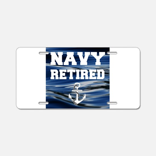 Navy Retired Aluminum License Plate