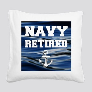 Navy Retired Square Canvas Pillow