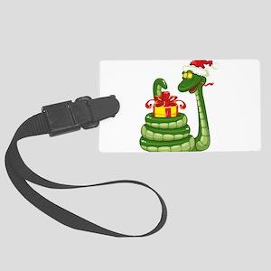 Snake Christmas design graphics Large Luggage Tag