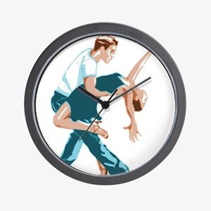 Salsa Dancers in two-tone color Wall Clock