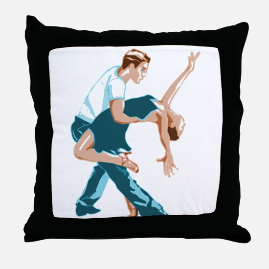 Salsa Dancers in two-tone color Throw Pillow