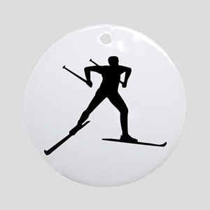 Cross country skiing Round Ornament