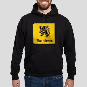 Flanders Road Sign, Belgium Hoodie (dark)