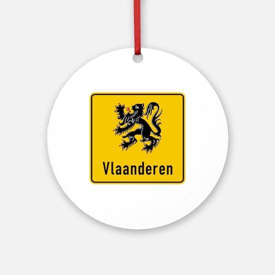 Flanders Road Sign, Belgium Round Ornament