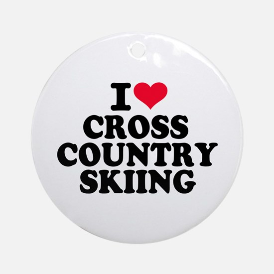 I love Cross country skiing Round Ornament