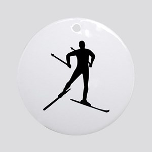 Cross-country skiing Round Ornament