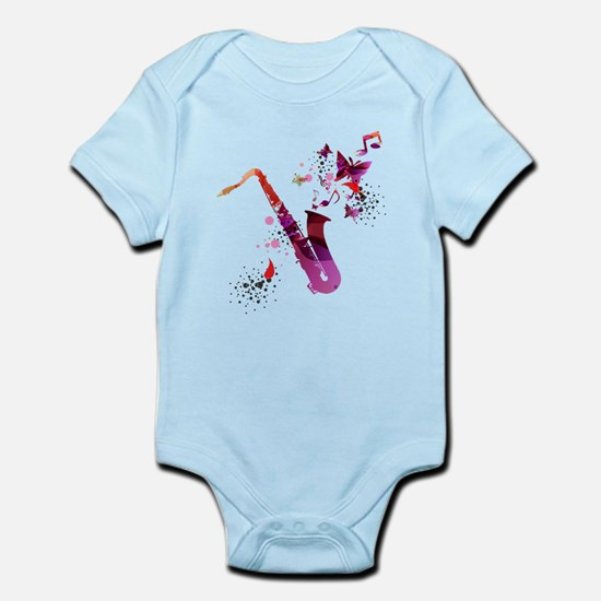 Stylish colorful music saxophone backgro Body Suit