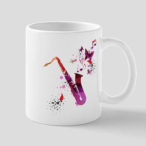 Stylish colorful music saxophone background Mugs