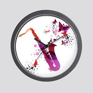 Stylish colorful music saxophone backgr Wall Clock