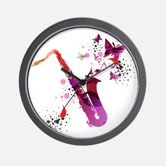 Stylish colorful music saxophone backgr Wall Clock