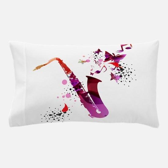 Stylish colorful music saxophone backg Pillow Case