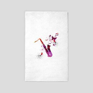 Stylish colorful music saxophone backgrou Area Rug