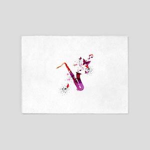 Stylish colorful music saxophone ba 5'x7'Area Rug