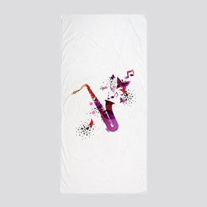 Stylish colorful music saxophone backg Beach Towel