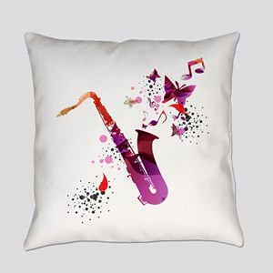 Stylish colorful music saxophone b Everyday Pillow