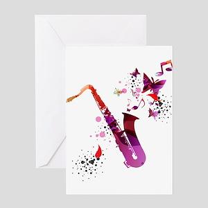 Saxophone greeting cards cafepress stylish colorful music saxophone ba greeting cards m4hsunfo