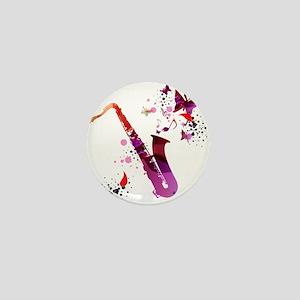 Stylish colorful music saxophone backg Mini Button