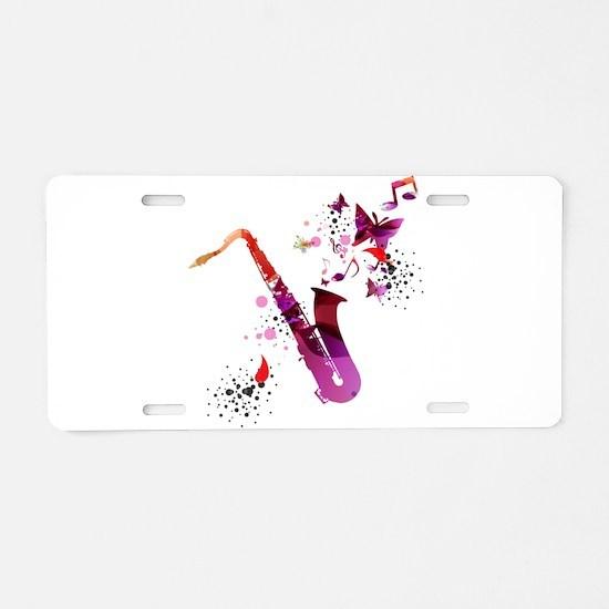 Stylish colorful music saxo Aluminum License Plate