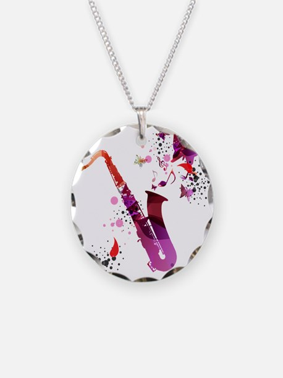 Stylish colorful music saxop Necklace