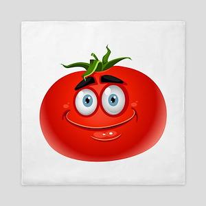 Smiley tomato Vegetable cartoon Queen Duvet