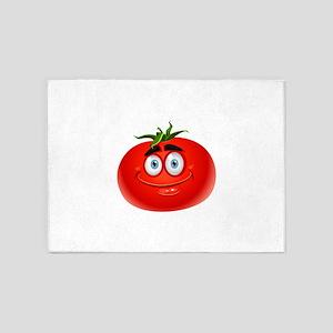 Smiley tomato Vegetable cartoon 5'x7'Area Rug