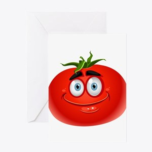 Smiley tomato Vegetable cartoon Greeting Cards